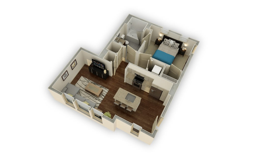 Altavista - 1 bedroom floorplan layout with 1 bath and 672 square feet.