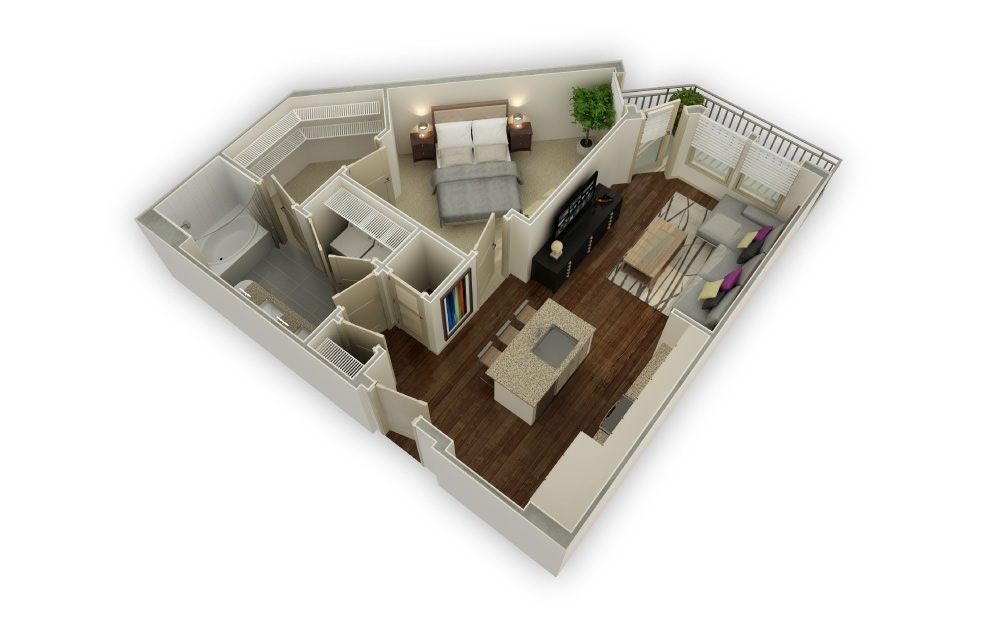 Alton - 1 bedroom floorplan layout with 1 bath and 800 square feet.