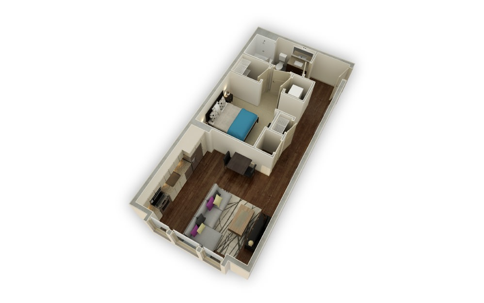 Arden - Studio floorplan layout with 1 bath and 652 square feet.