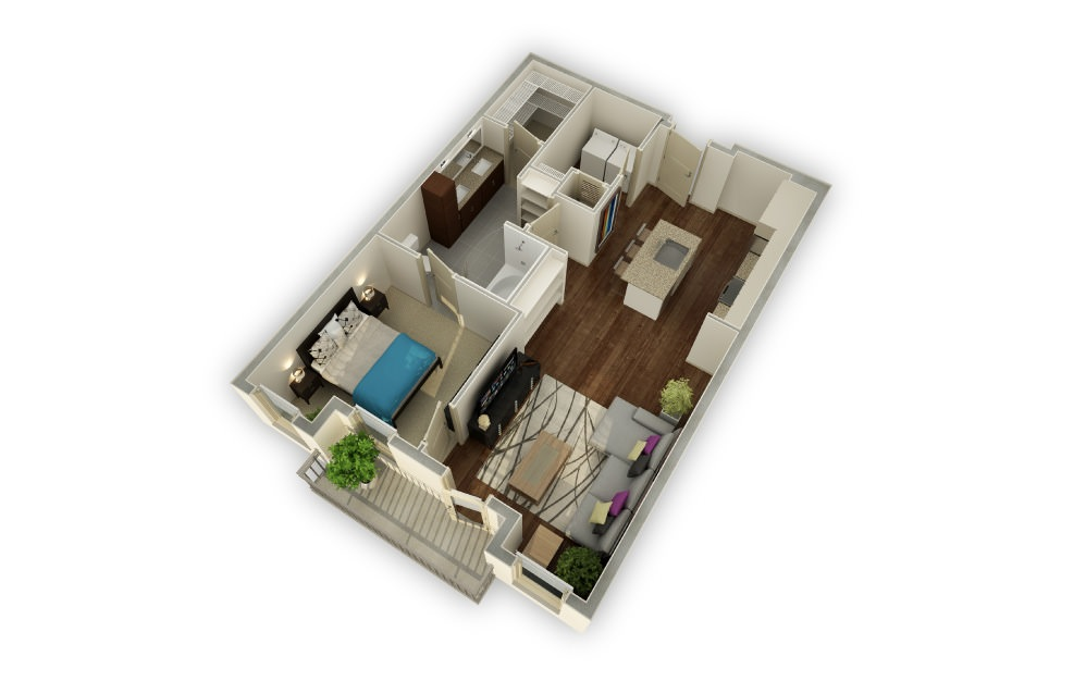 Brookdale - 1 bedroom floorplan layout with 1 bath and 862 square feet.