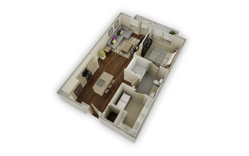 Dellwood - 1 bedroom floorplan layout with 1 bath and 794 square feet.