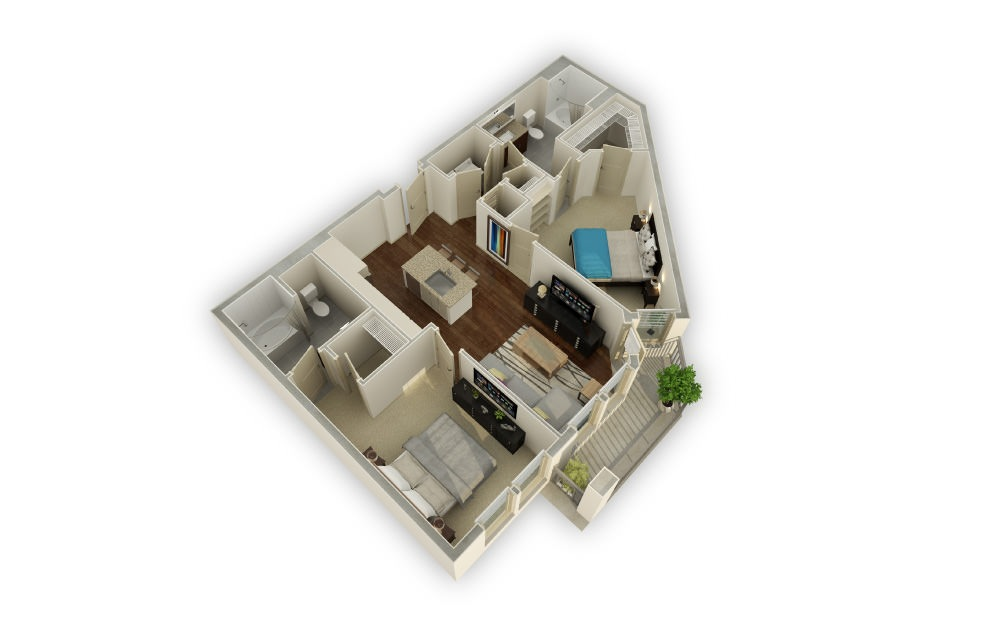 Habersham - 2 bedroom floorplan layout with 2 baths and 1263 square feet.