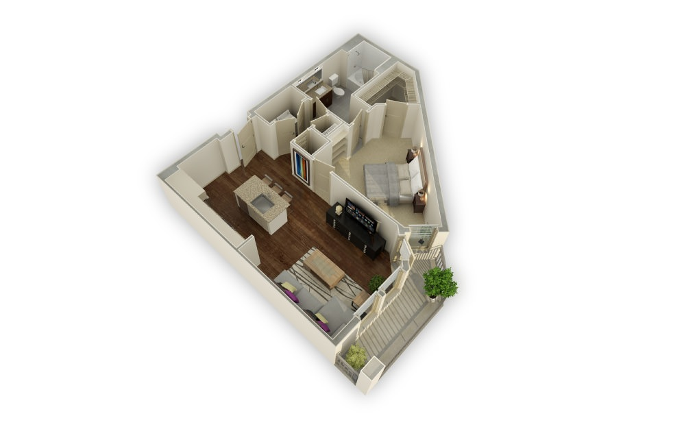 Havenridge - 1 bedroom floorplan layout with 1 bath and 928 square feet.