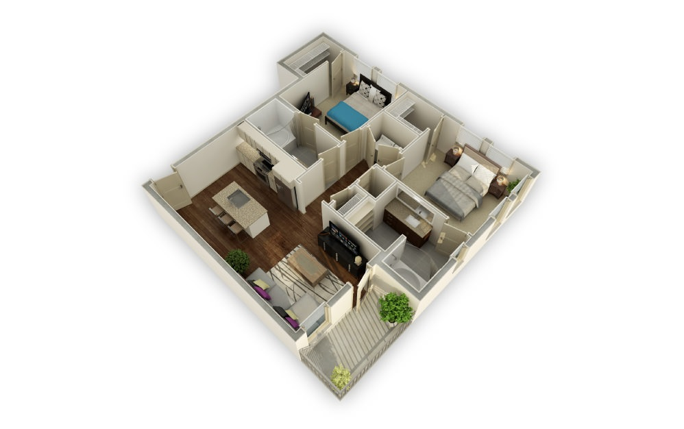 Manor - 2 bedroom floorplan layout with 2 baths and 1156 square feet.