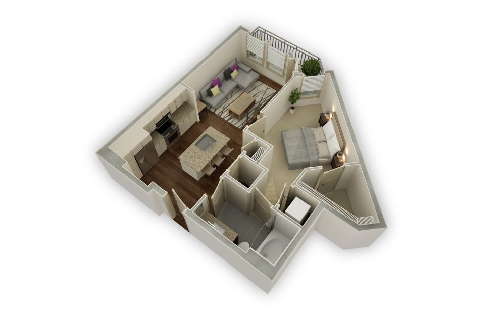 Montview - 1 bedroom floorplan layout with 1 bath and 733 square feet.