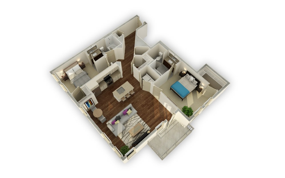 Muscogee - 2 bedroom floorplan layout with 2 baths and 1227 square feet.
