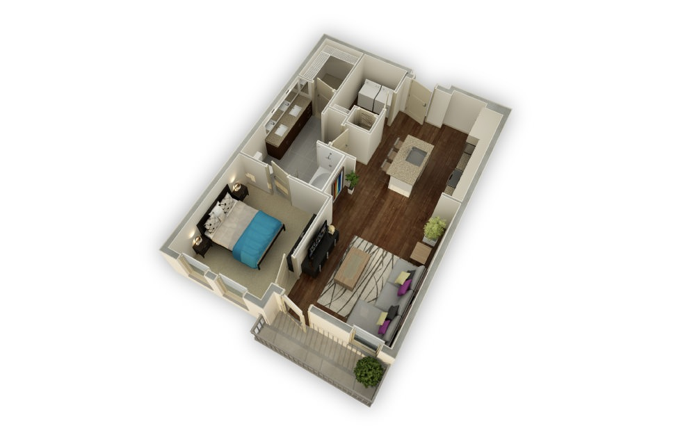 Peachtree - 1 bedroom floorplan layout with 1 bath and 864 square feet.