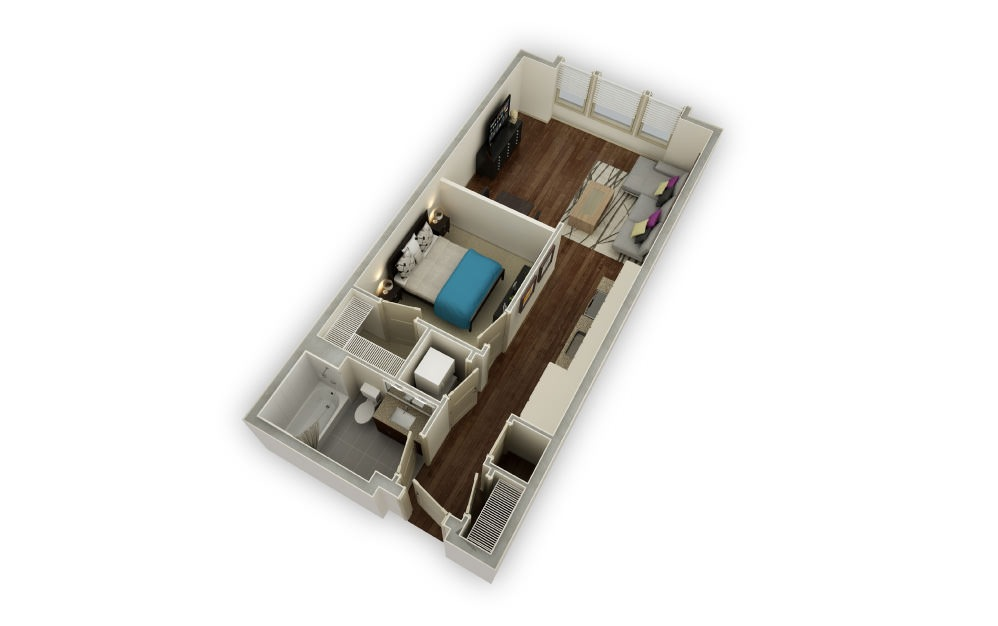 Pemberton - 1 bedroom floorplan layout with 1 bath and 652 square feet.