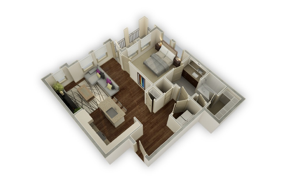 Rivers - 1 bedroom floorplan layout with 1 bath and 950 square feet.