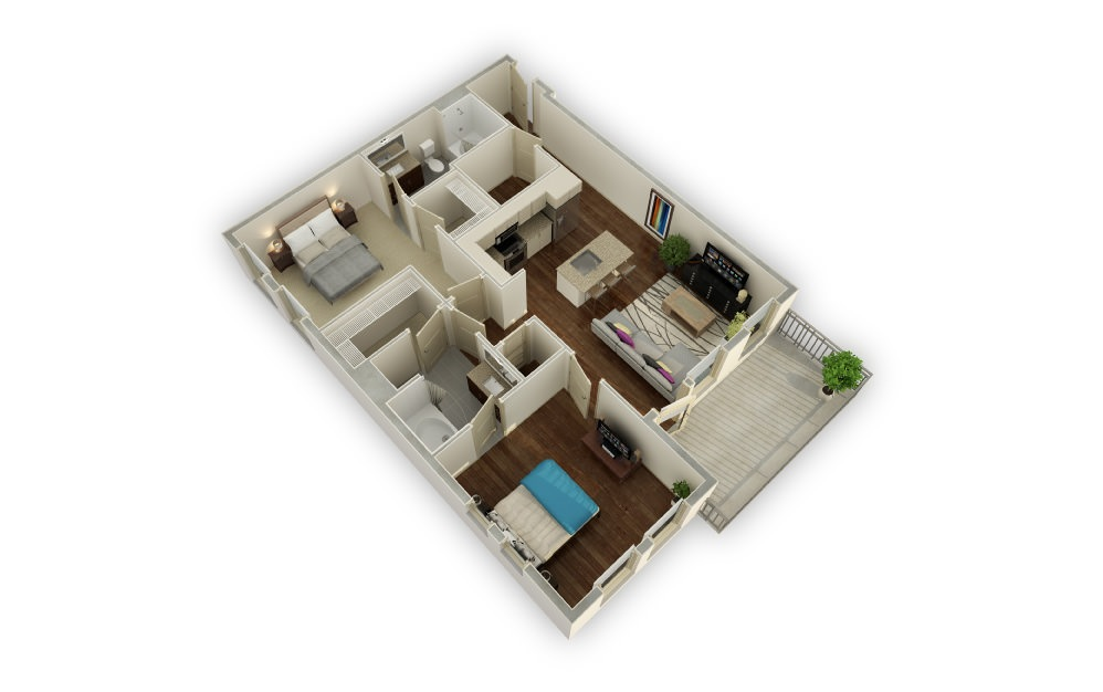 Westover - 2 bedroom floorplan layout with 2 baths and 1165 square feet.