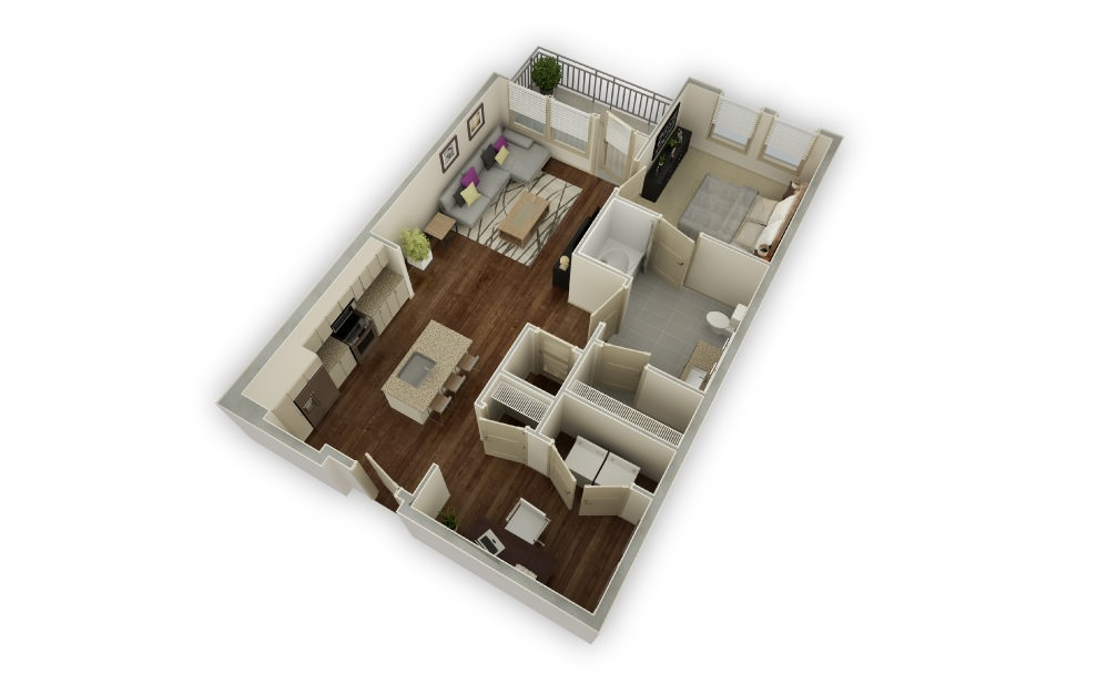 Whitmore - 1 bedroom floorplan layout with 1 bath and 895 square feet.