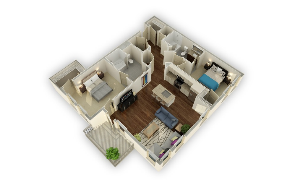 Woodward - 2 bedroom floorplan layout with 2 baths and 1265 square feet.